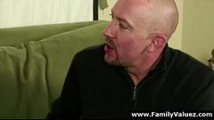 Older guy gets blowjob by step-daughter in family play