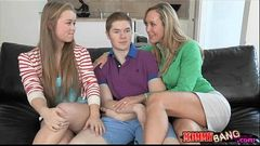 Big juggs stepmom Brandi Love threesome with teen Madison and BF
