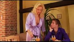 Horny son fucks his blonde mom