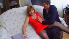 Mom fucks her step son on the couch