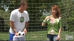 Big-tit British redhead Soccer mom Lia Lor fucks her son&#039_s coach