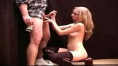 Cute Blonde In Glasses Gives A Handjob