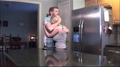 Busty Stepmom Fucks Her Stepson in the Kitchen- WATCH FULL video at-  FilthyGeek.com